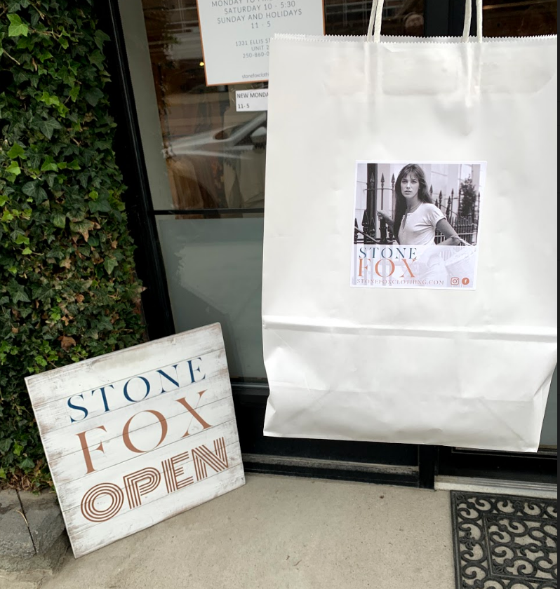 Stone Fox Vintage Clothing Store Bag and open sign